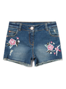 Denim Floral Embroidered Shorts (9-14 Years)