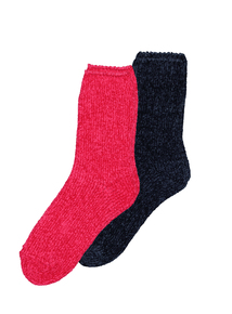 Cerise Pink & Navy Blue Chenille Socks 2 Pack