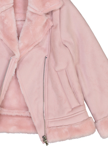 Dusky Pink Faux Fur Trimmed Jacket (3 - 14 years)