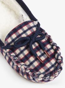 Multicoloured Check Mocassin Slippers (Infant 6-4)