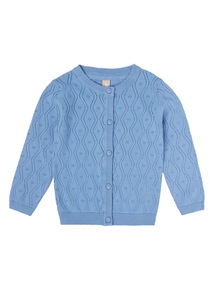 Blue Pointelle Cardigan (9 months - 6 years)