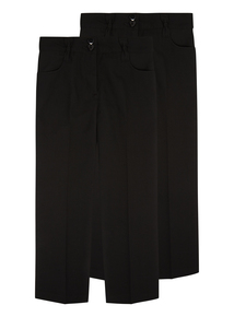 Girls Black Smart Trousers 2 Pack (3-12 years)