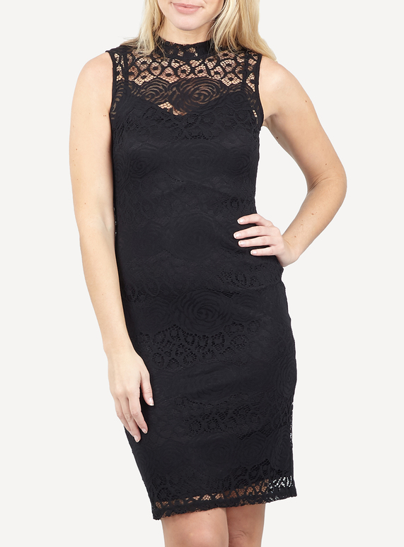 07a6760023b Brands IZABEL Black Halter Neck Frill Skirt Lace Dress