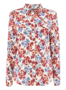 Cream Retro Printed Shirt