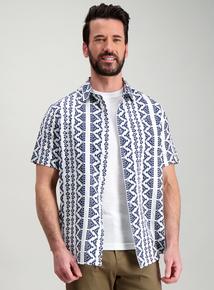 cb0f5e7543e White   Navy Aztec Print Linen Regular Fit Shirt