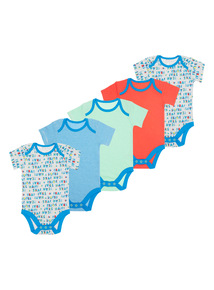 Boys Multicoloured Patterned Bodysuits 5 Pack (0 - 24 months)