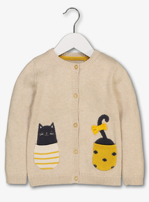 Beige Perfect Kitty Appliqué Cardigan (9 months-6 years)