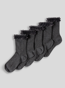 Girls Grey Lace Socks 5 Pack