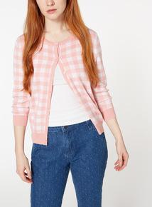 Pink Gingham Cardigan