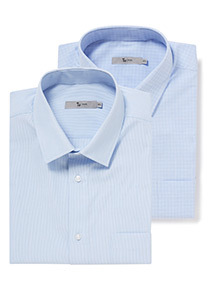 Blue Stripe Tailored Fit 2 Pack Shirts