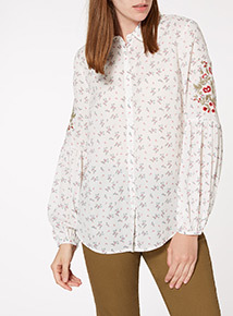 Floral Print Embroidered Shirt