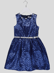 Blue Leopard Jacquard Dress (4-14 years)