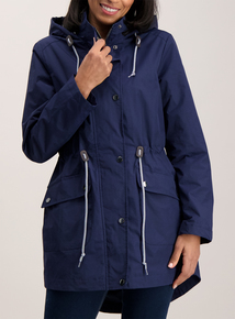 Navy Blue Lined Parka Coat