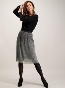 Silver Lurex Plisse Skirt