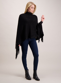 Black Sequin Knitted Poncho