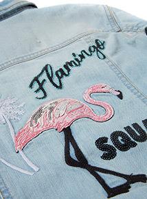 Denim Jacket With Flamingo Embroidery (3-14 years)