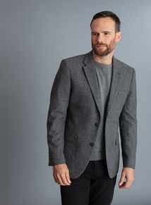 Grey Herringbone Tailed Blazer