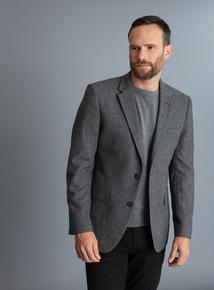 Grey Herringbone Tailored Fit Blazer