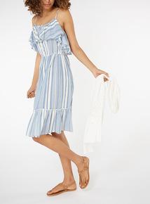 Striped Frill Hem Dress
