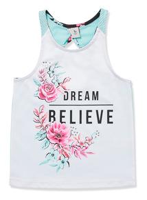White 'Dream Believe' Slogan Dance Vest (3-14 years)