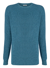 Turquoise Ribbed Crew Neck Jumper