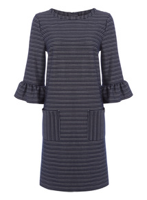 Stripe Ponte Fluted Dress