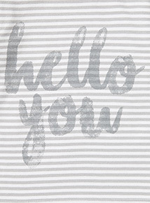 White Striped 'Hello You' Print Top (Newborn - 12 months)