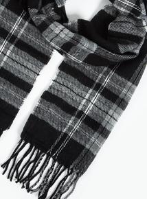 Black & Grey Check Fringed Scarf