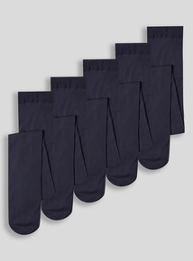 Girls Navy Opaque Tights 5 Pack (3-16 years)