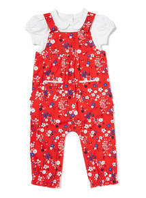 Red Floral Dungarees and Bodysuit Set (0-24 months)