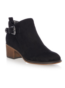 Block Heel Buckle Ankle Boot