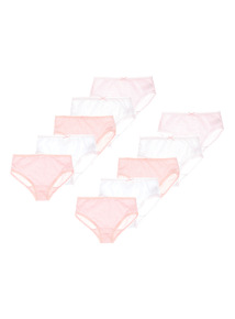 Pink Striped Briefs 10 Pack (18 months - 12 years)