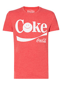 Red Coca Cola Smile Print T-Shirt