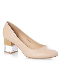 Nude Perspex Heel Court Shoe