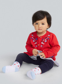 Red Floral Embroidered Cardigan (0-24 months)