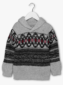 Grey Aztec Print Shawl Collar Jumper (3-14 years)