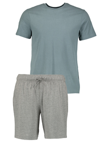 Soft Teal & Grey Stripe Short Jersey Pyjamas