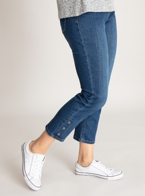 Mid Denim Popper Detail Straight Leg Jeans