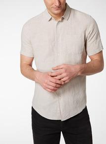 Stone Mini Dogtooth Linen Rich Shirt