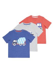 Boys Multicoloured Printed Tees 3 Pack (9 months - 5 years)