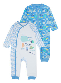 Multicoloured Seabed Sleepsuits 2 Pack (0 - 24 months)