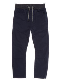 Boys Navy Trousers With Rib Waist (3 - 12 years)