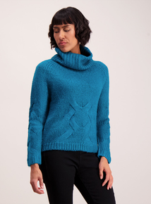 Teal Roll Neck Cable Jumper