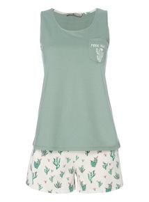 Green Cactus Print Pyjama Set