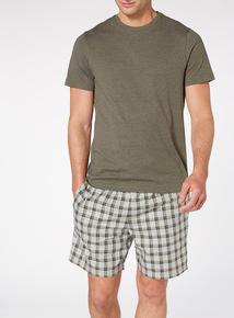 Green Tee And Check Shorts Set
