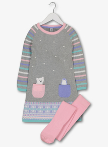Grey Knitted Polar Bear Dress With Tights (9 Months- 6 Years)