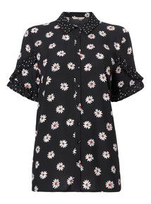 Monochrome Daisy Frill Shirt