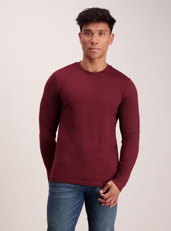 1952602d Menswear Burgundy Crew Neck Long Sleeve T-Shirt | Tu clothing