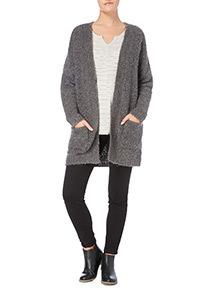 Grey Fluffy Long-Sleeved Cardigan