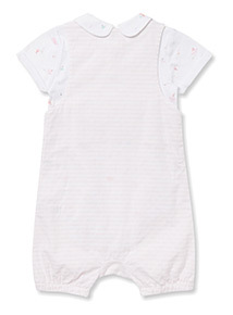White and Pink Striped Bibshort and Body Set (Newborn-12 months)